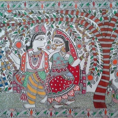 Romancing Krishna Painting Madhubani Paintings on Shimply.com