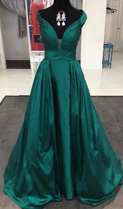 Pluse Size Prom Dresses,Modest Prom Dresses,Dark Green Deep V-neck Long Prom Dresses,Simple Evening Dresses,Handmade Plus Size Cheap Prom Gowns,Long Prom Dress,Evening Dresses