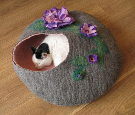 Grey bed with purple flowers cat bed cat house cat by GDFactoryPL