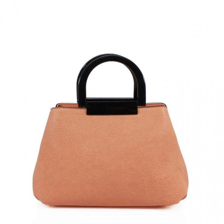 New Ladies Plain Twin Grab Handles Double Zipped Studded Base Feet Grab Hand Bag