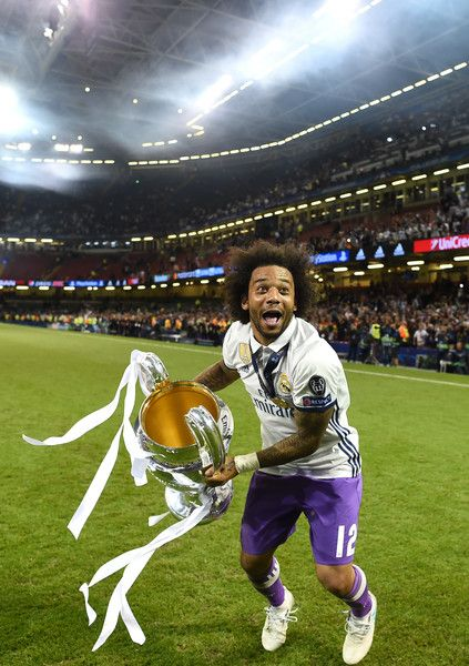 Marcelo of Real Madrid celebrates with the Champions League Tropy after the UEFA Champions League Final between Juventus and Real Madrid at National Stadium of Wales on June 3, 2017 in Cardiff, Wales.