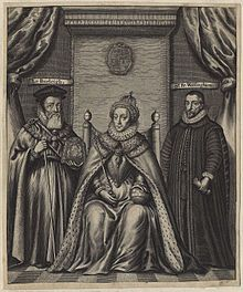 Seventeenth-century engraving of Queen Elizabeth with William Cecil (left) and Francis Walsingham (right)