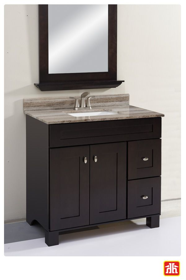 This vanity has a rich dark roast finish and will add warmth to your bathroom.