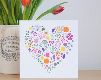 Bright floral heart Mother's Day card – Pretty flower card – card for mum – card for Mom – card for grandma – Mother birthday card
