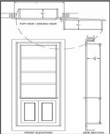 "Outward swinging up to 180 degrees: These hidden door designs use heavy duty SOSS hinges to allow full access through the width of the opening.  This is helpful in narrower openings under 36"".  Again, the seams are fully concealed within panel molding profiles."