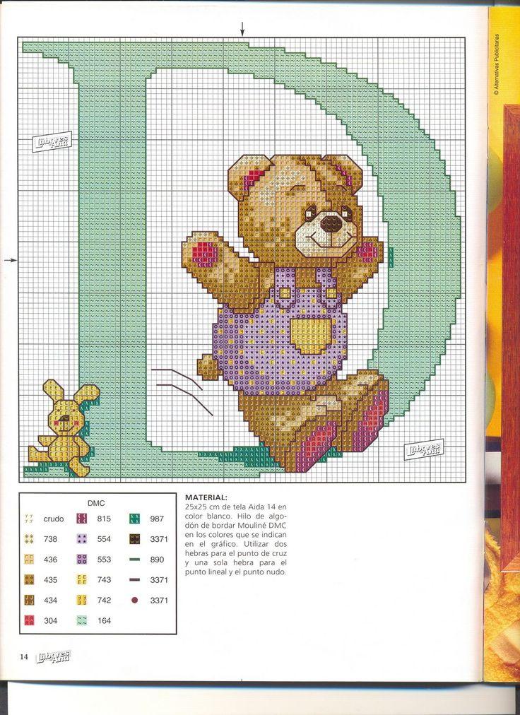 punto croce alfabeto orsetti  | Per salvare lo schema sul tuo computer clicca sull'immagine con il ...