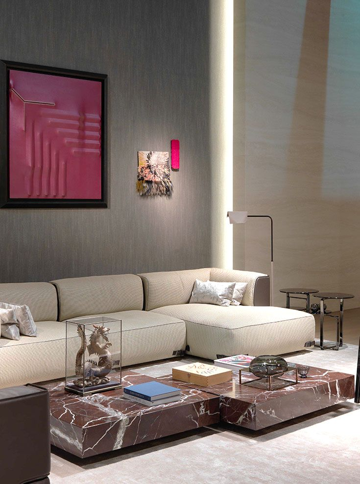 Fendi Casa - Soho sectional sofa and Quadrum marble coffee tables www.luxurylivinggroup.com #Fendi #LuxuryLivingGroup