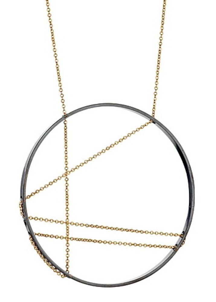 VANESSA GADE JEWELRY DESIGN INNER CIRCLE NECKLACE NO.111 OXIDIZED SILVER, GOLD FILL CHAIN designpublic.com