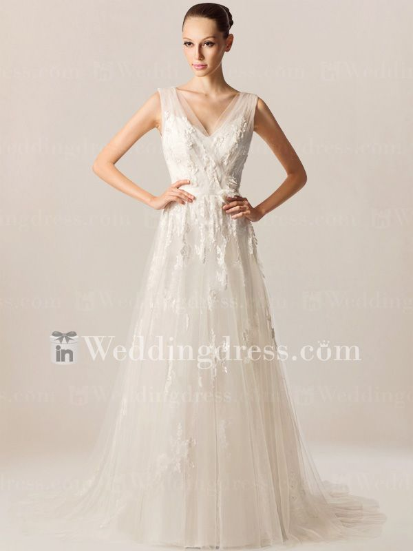 Simple Informal Bridal Gown with V-Neck BC462