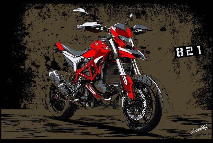 Tableau Ducati moto peinture rouge noir Hypermotard 821 est une peinture artistique acrylique de la marque italienne