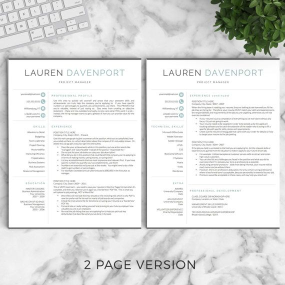 Professional and Modern Resume Template for Word and Pages /