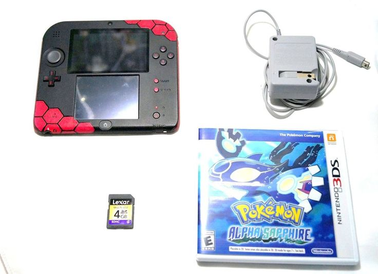 Nintendo 2DS Latest Model Red & Black Pokemon Alpha Saphire Game, 4gb SD Bundle #Nintendo