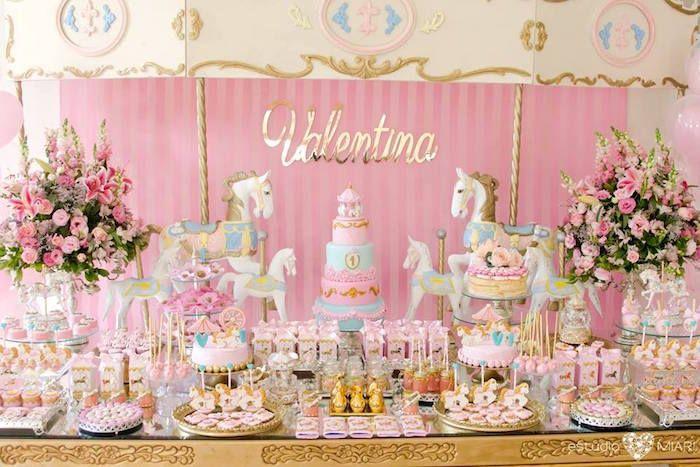 Carousel party table from an Enchanted Carousel Birthday Party on Kara's Party Ideas | KarasPartyIdeas.com (31)
