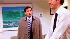 """the office! gif when Jim tells Michael that he and Pam are engaged! """"To be married?"""""""