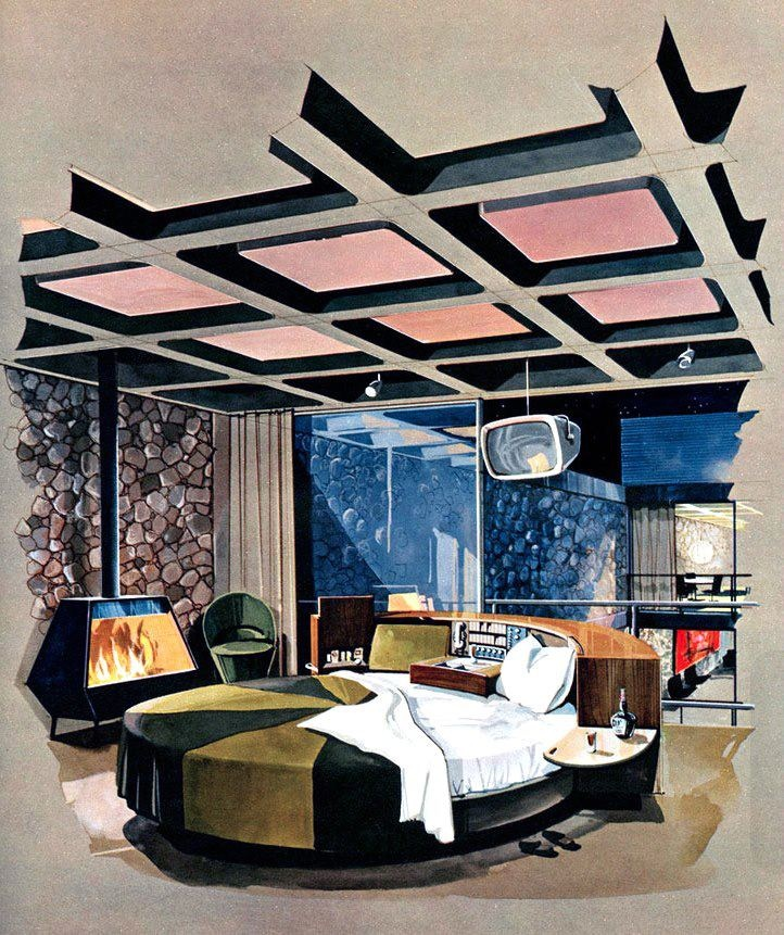 The modern bachelor pad bedroom as imagined by Playboy magazine in 1962. The bed has a built-in bar!
