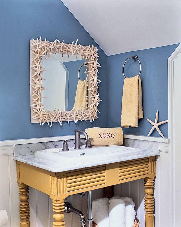 déco bord de mer salle de bain- cadre miroir en étoiles de mer