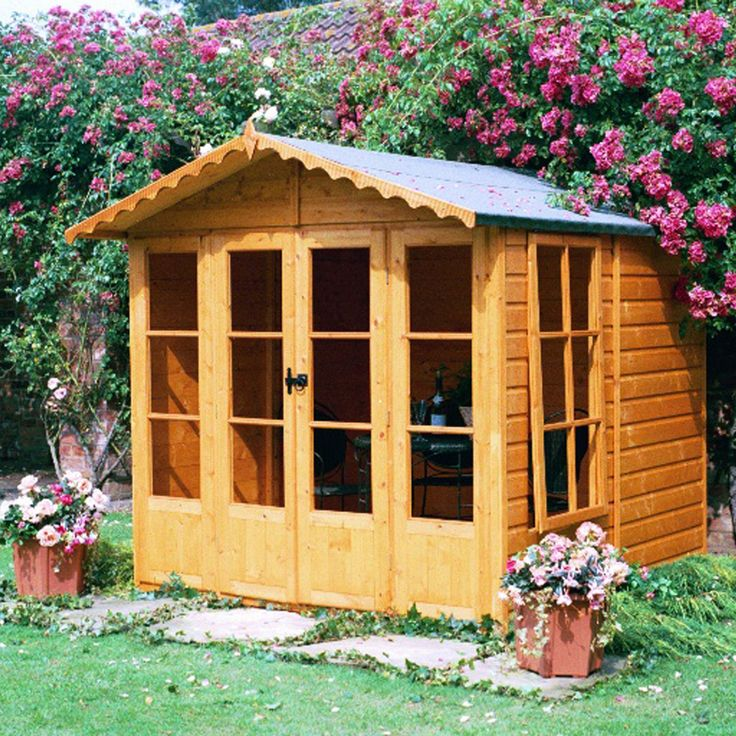 Shire Kensington 7X7 Honey Shiplap Timber Summerhouse - with Assembly Service   Departments   DIY at B&Q