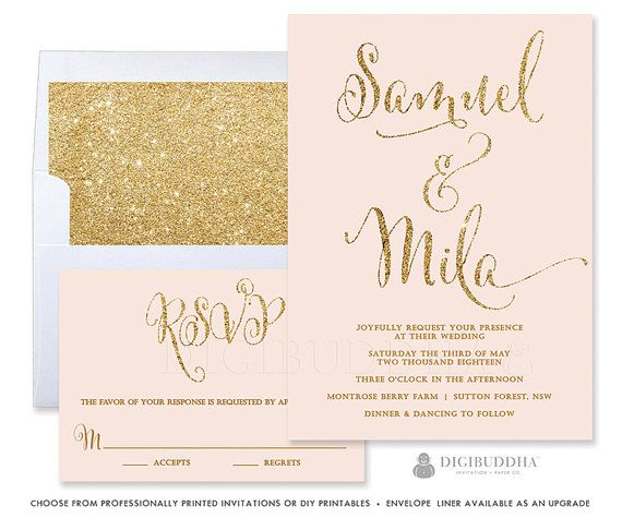 Elegant modern pink & gold glitter wedding invitations in a 2 piece suite including RSVP reply card. Gold shimmer envelopes, coordinating envelope liners and belly bands also available. digibuddha.com