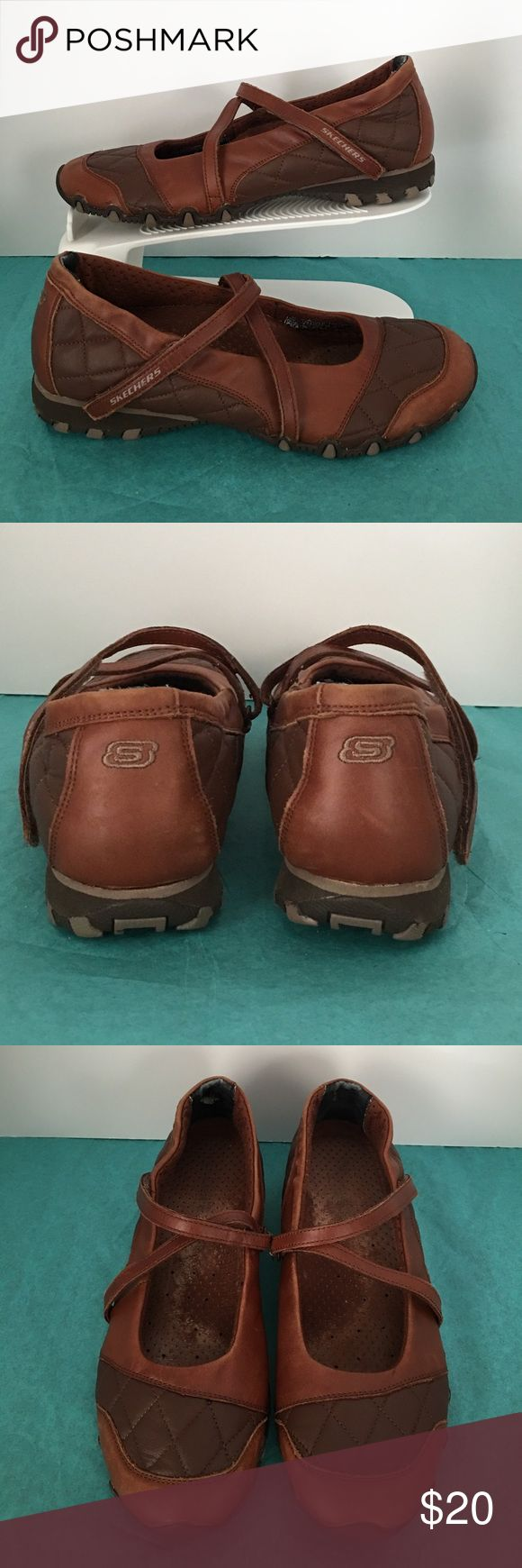 Skechers Mary Jane brown leather🇺🇸 Pre owned Skechers Mary Jane women shoes in good condition. Please zoom in on the shoes for a better look. Smoke and pet free house Skechers Shoes Flats & Loafers