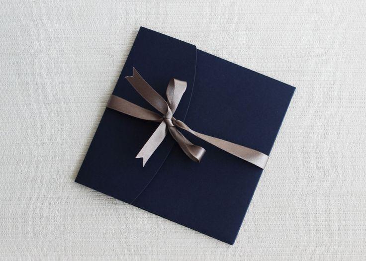 Navy Silver Pocketfold Wedding Invitation