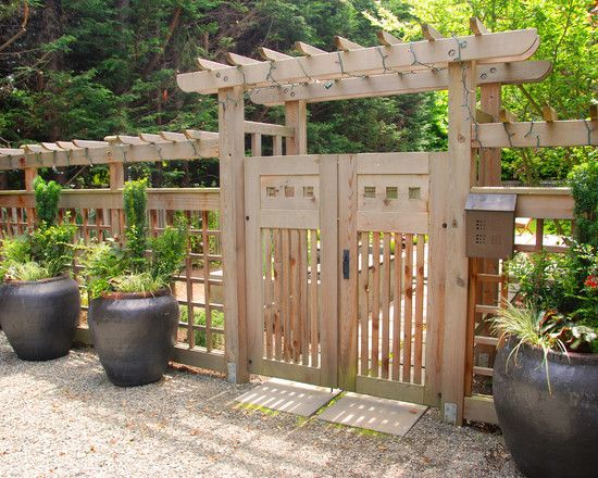 Architecture: Epic Ideas In Building Wooden Fence Gate Using Treated Wood Design And Concrete Walkway Combined With Green Plants In Giant Black Pots Completed With Gravels, wooden fence gate kit, building wooden fence gate ~ Questushospitality.com