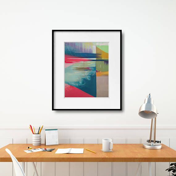 Abstract Painting Christmas Gift. Modern geometric poster - reproduction of acrylic painting on canvas in a bold color combination and abstract composition. This abstract poster is available in multiple sizes: 12 x12 in, 12 x 16 in, 14 x 14 in, 12 x 18 in, 16 x16 in, 16 x 20 in, 18 x 18 in, 18 x 24 in, 24 x 36 in. +++ #wallart #walldecor #painting #modernredpainitng #kacixart #abstract  #abstractart