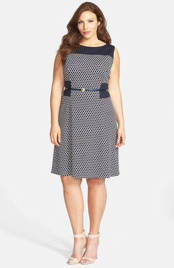 Anne Klein Pattern Ponte Fit & Flare Dress (Plus Size) available at #Nordstrom
