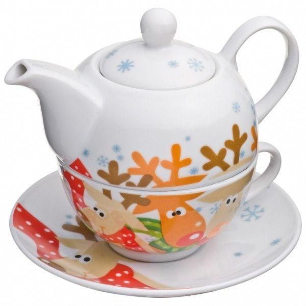 Rénszarvasos porcelán teáskanna | Napideal
