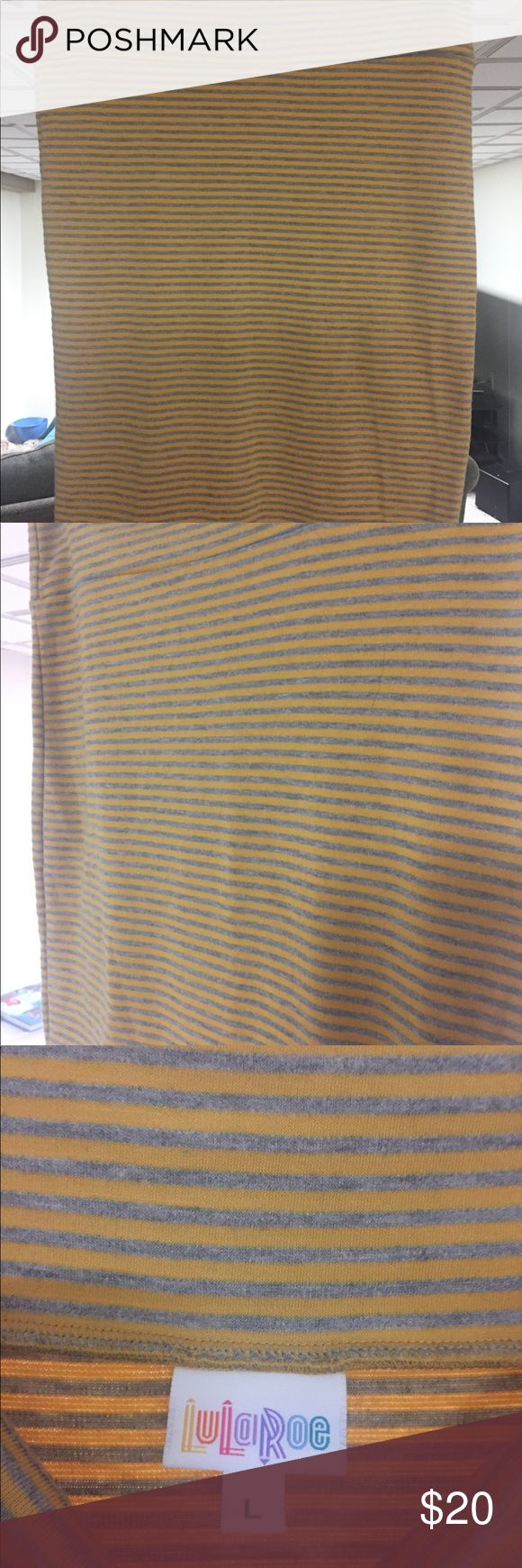 Yellow and Gray striped LLR Cassie Skirt Never worn but no tags. Perfect condition. LuLaRoe Skirts Pencil