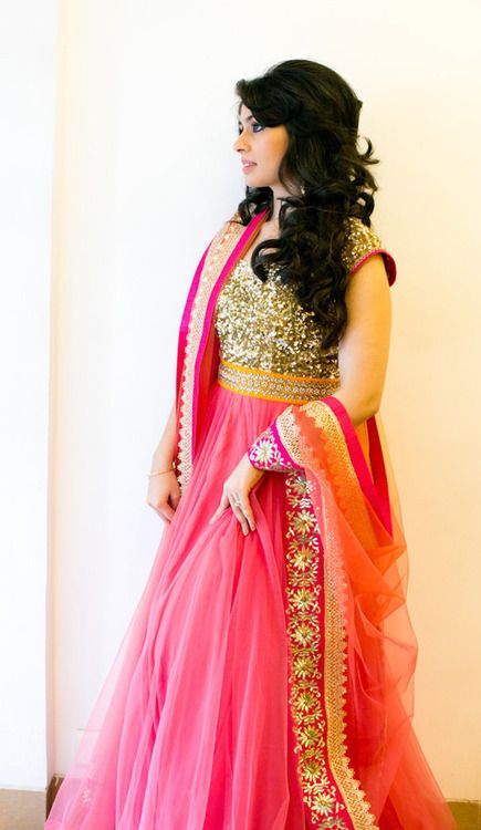 Hot Pink/Gold Tulle Anarkali
