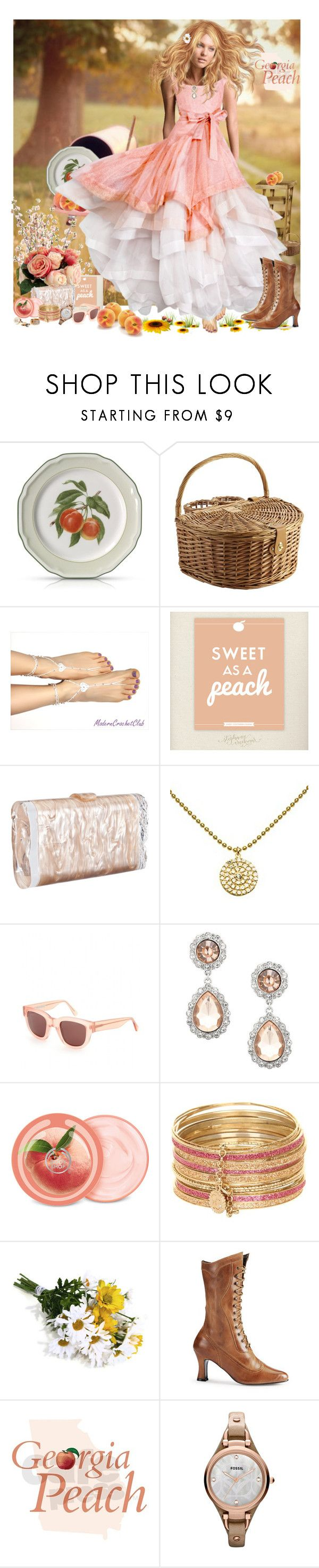 """Georgia Peach"" by summersunshinesk7 ❤ liked on Polyvore featuring Pier 1 Imports, FRUIT, WALL, Winward, Edie Parker, Lola James Jewelry, Acne Studios, MOOD, The Body Shop and Jessica Simpson"