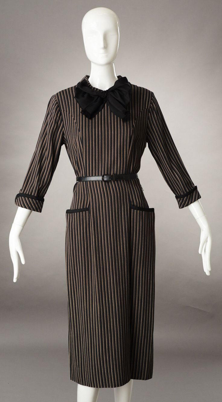Herman Marcus Brown and Black Vertically Striped Fitted Dress w/Belt