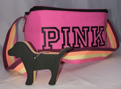 NEW Victoria's Secret PINK Beach / Lunch Cooler Bag PINK Dog Key Chain Floating