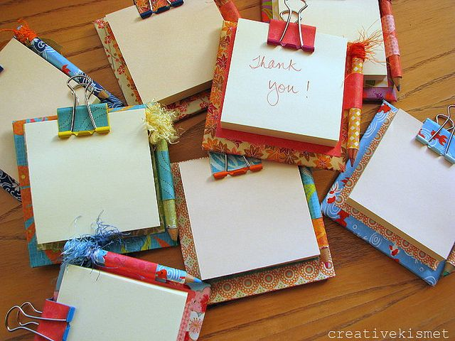 teacher gifts: sticky pad holder by Regina (creative kismet), via Flickr  This is one of those very pretty, fairly easy projects that is perfect for craft sales and thank you presents!!