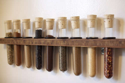 DIY Spice Rack. Because cooking is like a great chemistry experiment anyway.