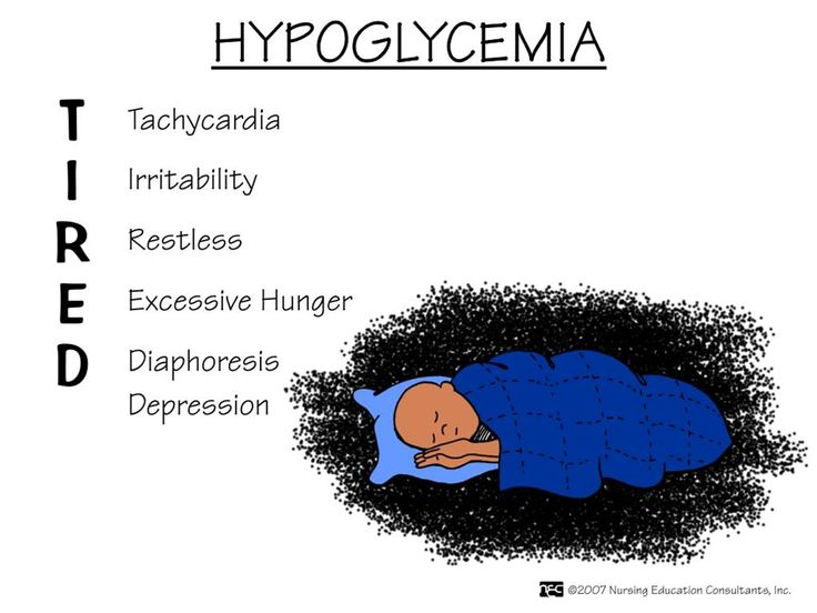 Hypoglycemia. Be able to recognize and educate the patient and family members on signs and symptoms of hypoglycemia, and how to treat.