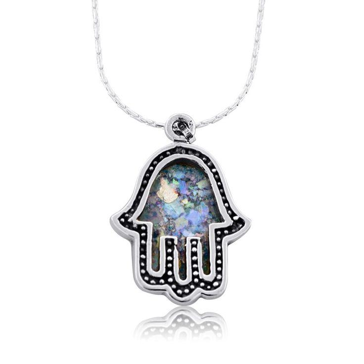 Rafael Jewelry Roman Glass Silver Hamsa Frame Necklace, Jewish Gifts from Israel   Judaica WebStore