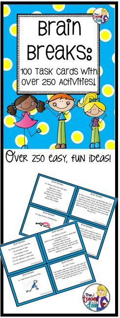 These 100 task cards have over 250 quick, easy, creative ideas to help your kids focus. Loaded with activities to help your kids gets their wiggles out and be better learners. (TpT Resource)