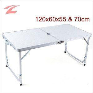 Klapptisch aus Aluminium AFT-02, Alu Klapptisch mit höhenverstellbaren Tischbeinen von 55cm bis 70cm Höhe