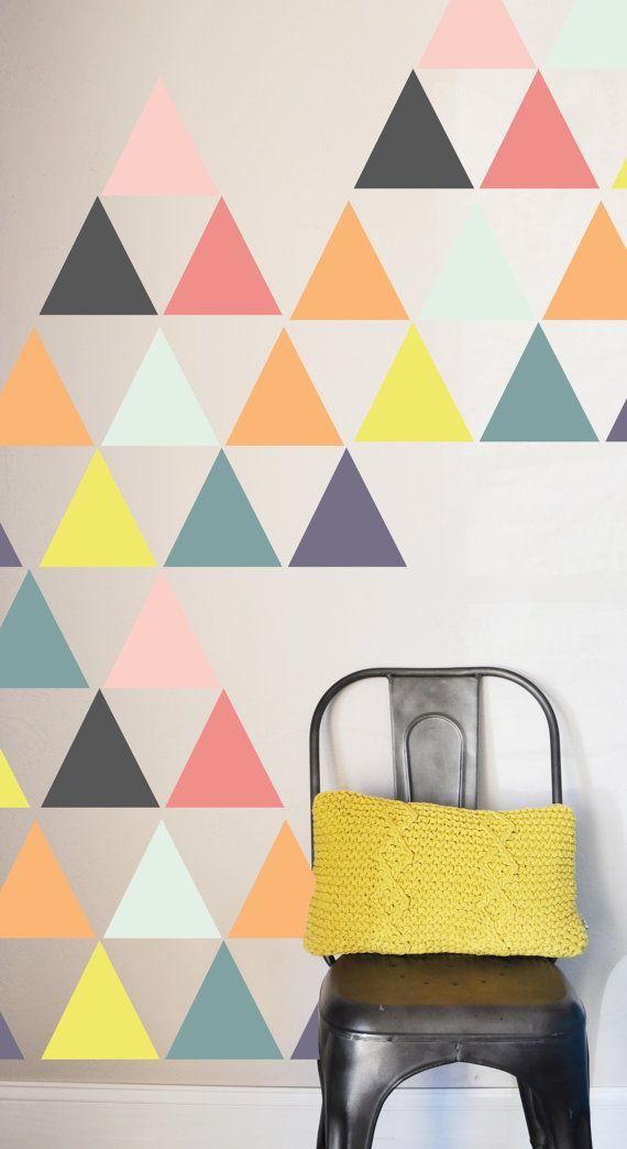 45 INDIVIDUAL Triangles -5x5    Fully removable and reusable wall decals that will brighten and add character to any room. **PLEASE NOTE THAT