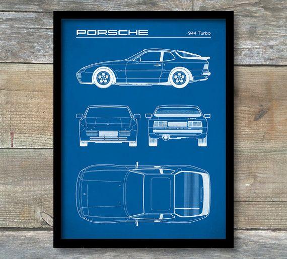 Patent Print Porsche 944 Turbo Blueprint by NeueStudioArtPrints