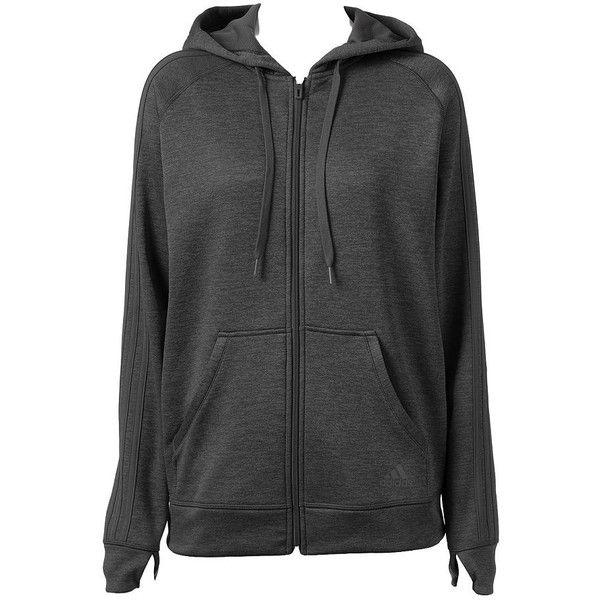 Women's Adidas Striped Zip Up Fleece Hoodie ($54) ❤ liked on Polyvore featuring tops, hoodies, jackets, black, zip front hoodie, adidas hoodie, zip up hoodie, adidas hoodies and raglan hoodie