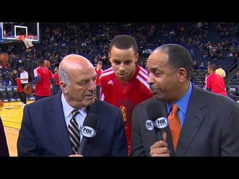 Stephen Curry of the Golden State Warriors Video Bombs His Father Dell Curry