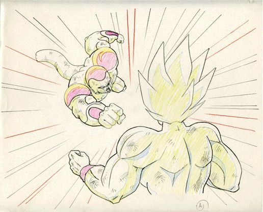 """as-warm-as-choco:  Dragon Ball Z (ドラゴンボール) key-animation ofSuper Saiyan Gokuvs Frieza from the 103th episode:""""Pathos of Frieza"""",which aired   24 years ago…   in August 14, 1991 in Japan !Previous one:Vegeta   Another one!"""