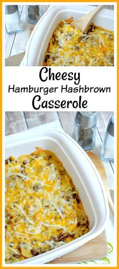 Cheesy Hamburger Hashbrown Casserole- Need a hearty, yet quick, recipe? Then you should try this delicious cheesy hamburger hashbrown casserole! It's easy to make, and very filling! | easy recipes for busy moms, dinner, breakfast, ground beef, cheese, potatoes, food