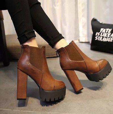 Moda Para Mujer Plataforma Grueso Zapatos de tacón de piel sintética en el tobillo Caballero Botas Talla