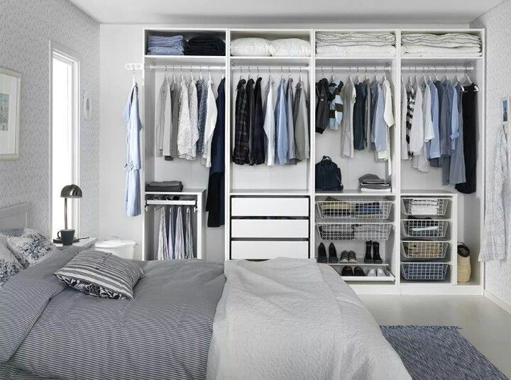 Love this closet from ikea. I'd just add the sliding doors with the mirrors on it or on a couple of the doors, and perfect :)