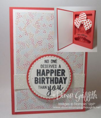 Shadow Box Balloon Pop up with Dawn Watermelon Stampin'Up!