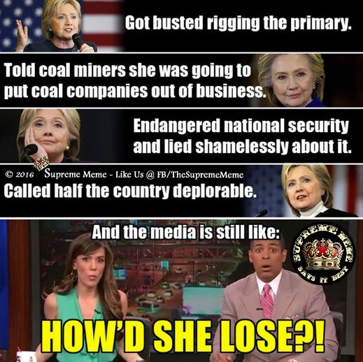 This is why Crooked Hillary lost. Well, SOME of the reason(s). Loser.