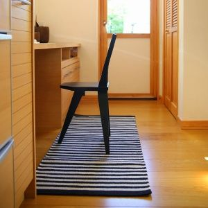 Fabula Living (ファビュラリビング) <br> Jasmine Black/Grey(ジャスミン ブラック・グレー)< br>キッチンマット・廊下 ラグ 60x150cm